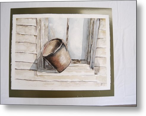 Landscape Of Shakertown Bucket In Winter Metal Print featuring the painting Shakertown Bucket by Marti Kuehn