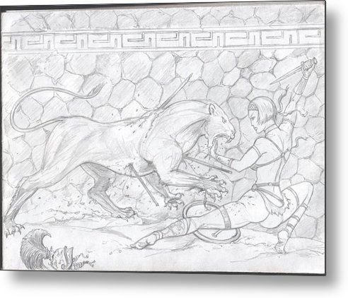 Fight Metal Print featuring the drawing Lioness And Gladiator by Alan Lancaster