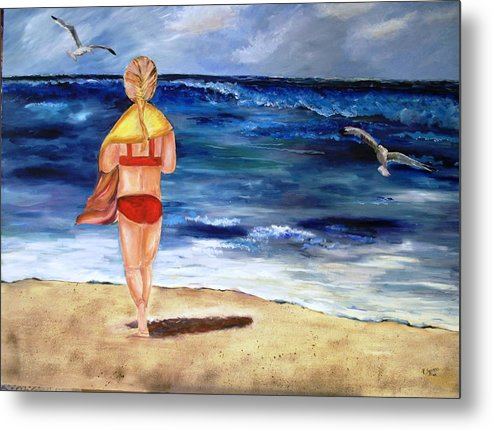 Children Metal Print featuring the painting A Day At The Beach by Pamela Squires