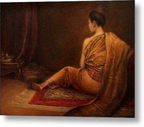 Lao Woman Metal Print featuring the painting Lady Of The Palace by Sompaseuth Chounlamany
