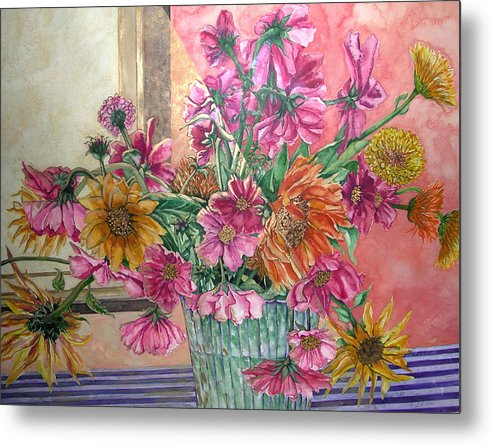 Watercolor Metal Print featuring the painting Ruth's Bouquet by Caron Sloan Zuger