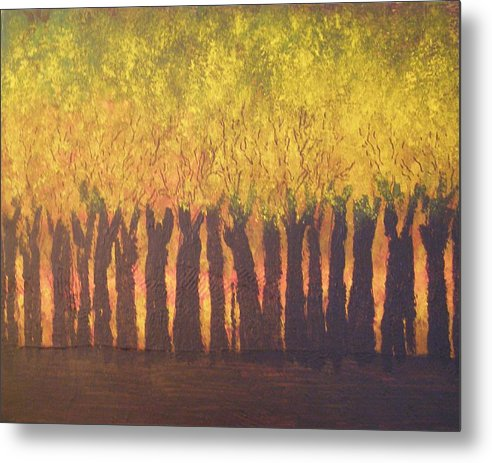 Abstract Expressionism Metal Print featuring the painting October Trees At Sunset by Don Phillips