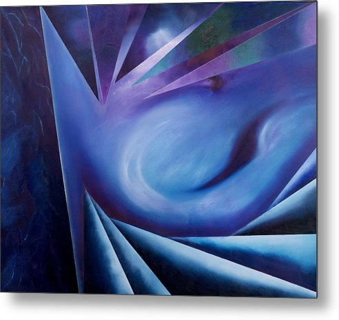 Abstract Geometry Metal Print featuring the painting Contemplation Of The Cleft Between The Worlds by Ara Elena