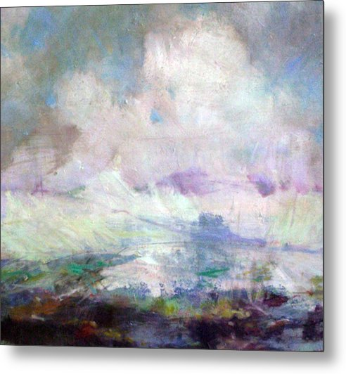 Abstract Metal Print featuring the painting Seascape-untitled by Marilyn Muller