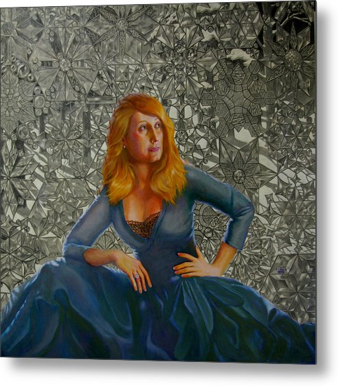 Lady Sitting In Front Of A Leaded Glass Window Metal Print featuring the mixed media Snow Queen by RC Bailey