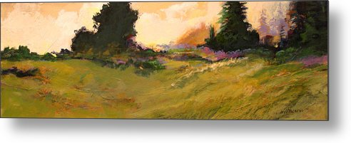 Landscape Metal Print featuring the painting Evening Meadow by Dale Witherow
