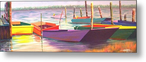 Boats Metal Print featuring the painting Bateau Mystique by Hugh Harris