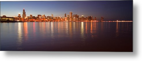 Chicago Metal Print featuring the photograph Chicago Dusk Skyline Panoramic by Sven Brogren