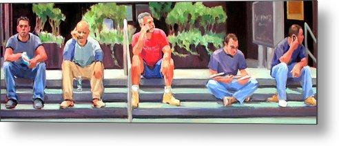 Figurative Metal Print featuring the painting Lunch Break - Men At Work Series by Merle Keller