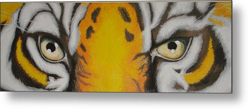 Tiger Metal Print featuring the painting Tiger Eyes by Glory Fraulein Wolfe