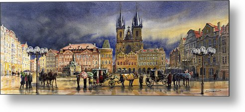 Watercolor Metal Print featuring the painting Prague Old Town Squere After Rain by Yuriy Shevchuk