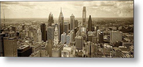 Philadelphia Metal Print featuring the photograph Aerial View Philadelphia Skyline Wth City Hall by Jack Paolini