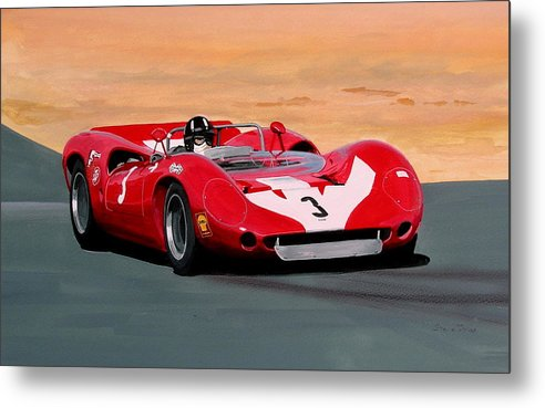 Sport Graham Hill Lola T70 Metal Print featuring the painting Graham Hill by Steve Jones