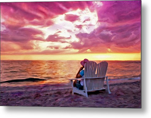 Beach Sea Sunset Tropical Seashore Metal Print featuring the painting Patience Within by Carolyn Staut