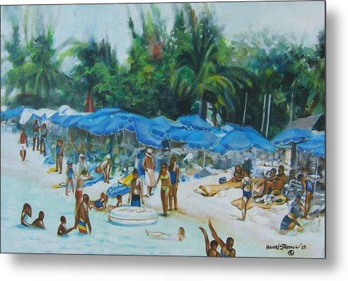 At The Beach Metal Print featuring the painting Intimacy On Vacation by Howard Stroman