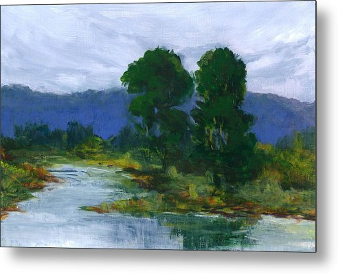 Bay View In Palo Alto California. Painted On Sie En Plain Aire During High Tide. Metal Print featuring the painting Two Trees In The Bay Land by Barbara Moore