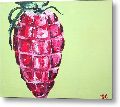 Fruit Metal Print featuring the painting Strawberry Grenade by Britta Loucas