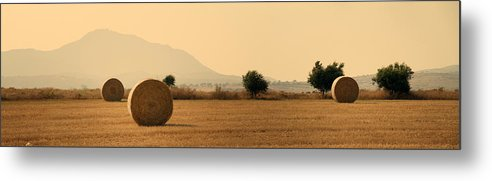 Agriculture Metal Print featuring the photograph Hay Rolls by Stelios Kleanthous