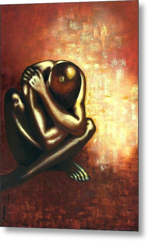 Figurative Metal Print featuring the painting Angst Of Existence by Padmakar Kappagantula