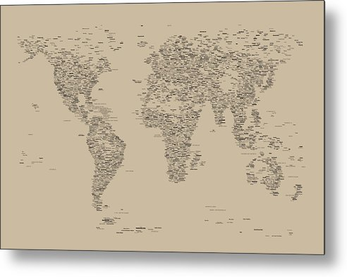 Map Of The World Metal Print featuring the digital art World Map Of Cities by Michael Tompsett