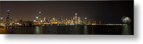 3scape Photos Metal Print featuring the photograph Beautiful Chicago Skyline With Fireworks by Adam Romanowicz