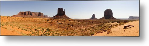 Monument Valley Landscape Panorama Utah Travel Metal Print featuring the photograph Light On Monument Valley by Harold Piskiel