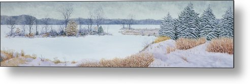 Panorama Metal Print featuring the painting Winter Lake And Cedars by Garry McMichael