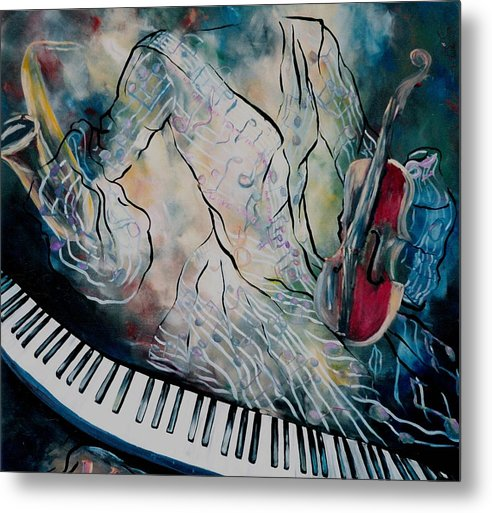 Surreal Music Metal Print featuring the painting Di Musica by Stephanie Cox
