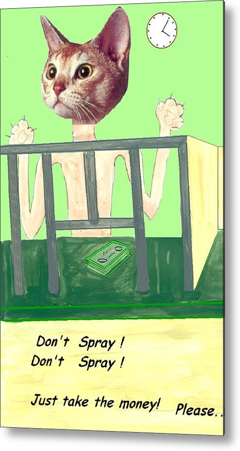 Cat Comic Bare Bank Hold Up Metal Print featuring the mixed media I Give Up by Bethwyn Mills