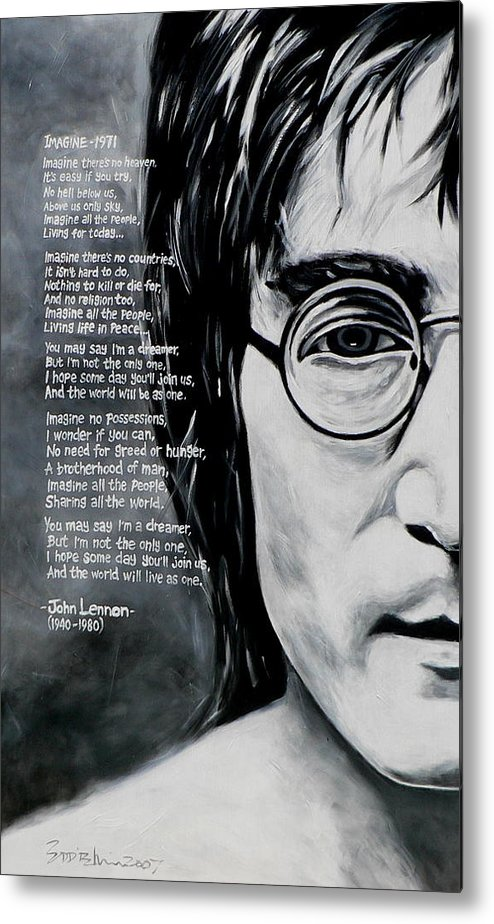 Figurative Metal Print featuring the painting John Lennon - Imagine by Eddie Lim