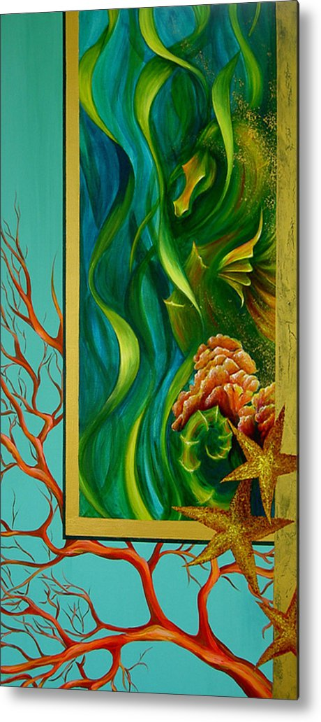 Ocean Sea Seahorse Coral Underwater Starfish Beach Tropical Layered Collage Metal Print featuring the painting Aquatica by Dina Dargo