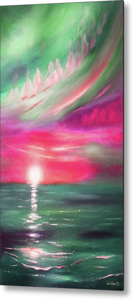 Sunset Metal Print featuring the painting Here It Goes - In Teal And Magenta Vertical Sunset by Gina De Gorna