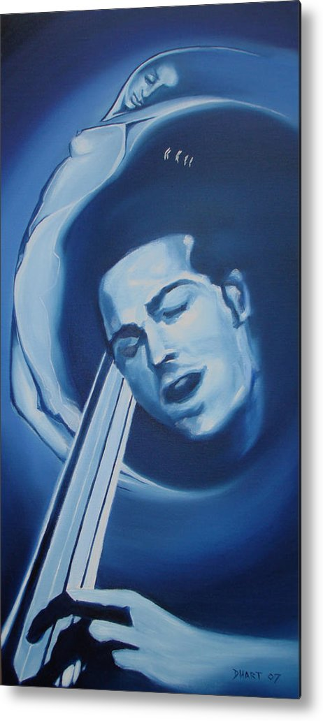 Abstract Figurative Nude Music Blue Moods Metal Print featuring the painting Midnight Serenade by Davinia Hart