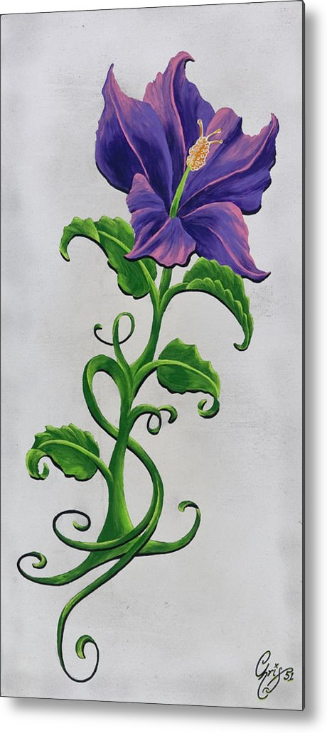Hibiscus Metal Print featuring the painting Strangler Hibiscus by Chris Fifty-one