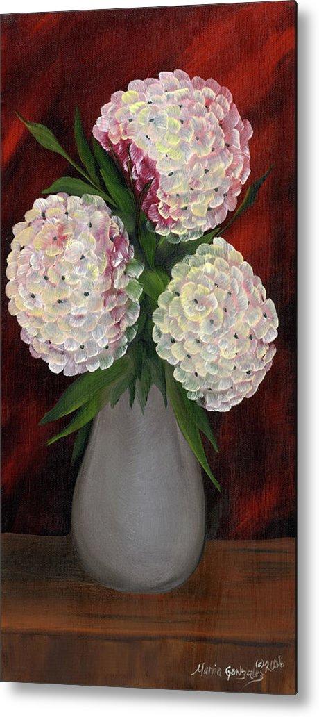 Hydrangeas Metal Print featuring the painting White Hydrangeas by Maria Williams