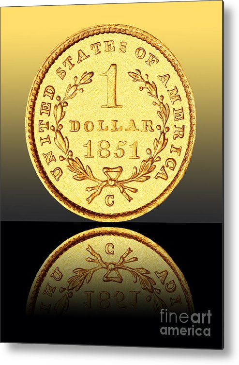 Coin Metal Print featuring the photograph 1851 1 Dollar Rare Charlotte Gold by Jim Carrell