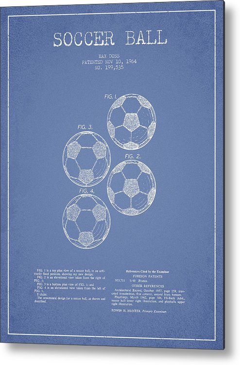 Soccer Metal Print featuring the drawing Vintage Soccer Ball Patent Drawing From 1964 by Aged Pixel