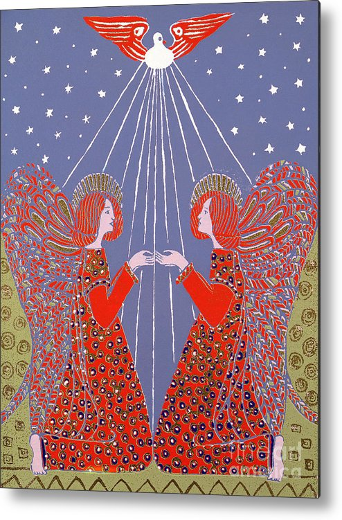 Angels Metal Print featuring the painting Christmas 77 by Gillian Lawson