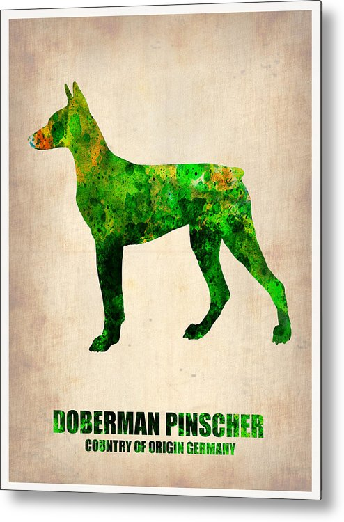 Doberman Pinscher Metal Print featuring the painting Doberman Pinscher Poster by Naxart Studio