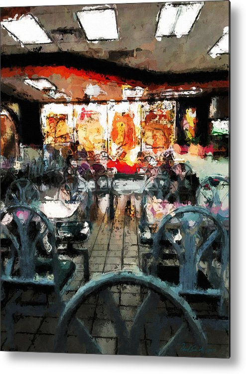 Restaurant Metal Print featuring the painting Empty Restaurant by Robert Smith