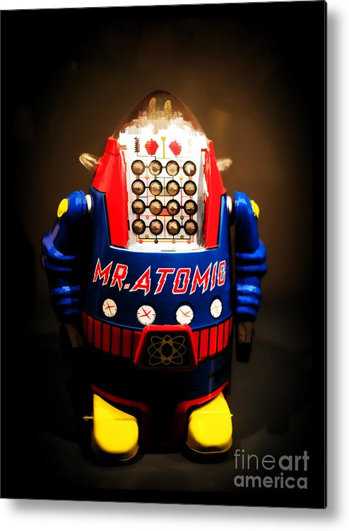 Robot Metal Print featuring the photograph Mr. Atomic Tin Robot by Edward Fielding