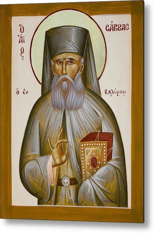 St Savvas Of Kalymnos Metal Print featuring the painting St Savvas Of Kalymnos by Julia Bridget Hayes