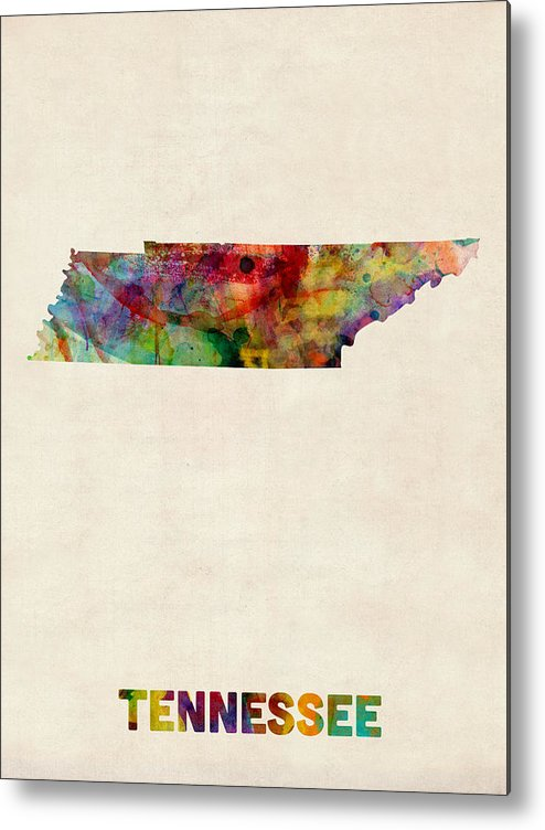United States Map Metal Print featuring the digital art Tennessee Watercolor Map by Michael Tompsett