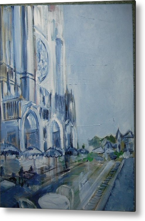 Chartre Metal Print featuring the painting Blue Study Of Chartre by Carol Mangano