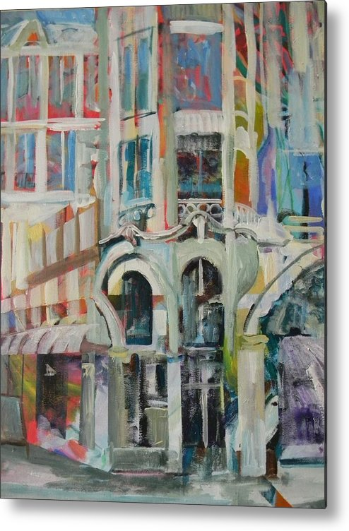 Cafe Metal Print featuring the painting Cafe In Paris by Carol Mangano