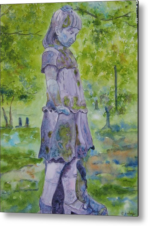 Statue Portrait Metal Print featuring the painting Little Nanny by Patsy Sharpe