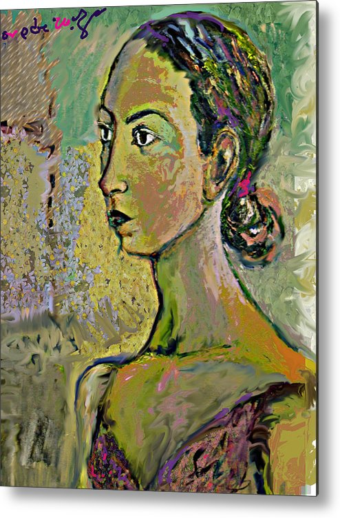 Portrait Metal Print featuring the painting A Waiting by Noredin Morgan