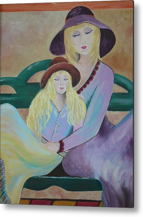 Mother/daughter Metal Print featuring the painting Angel Face by Kris Crollard