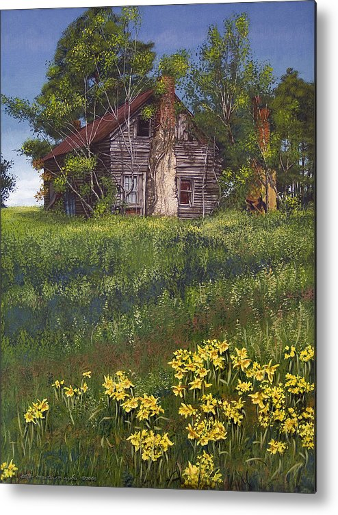 Landscape Metal Print featuring the painting Fairplay Farmhouse by Peter Muzyka