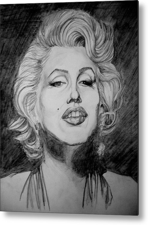 Celeb Portraits Metal Print featuring the drawing Marylin Monroe by Sean Leonard